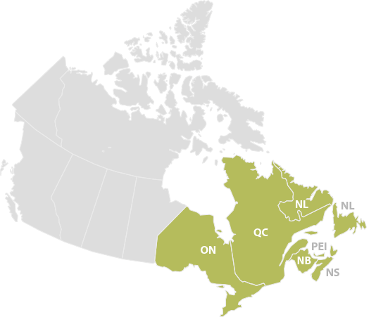 Canadian contributors map